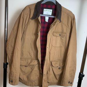 ORVIS Classic Plaid Lined Barn Coat XL tan